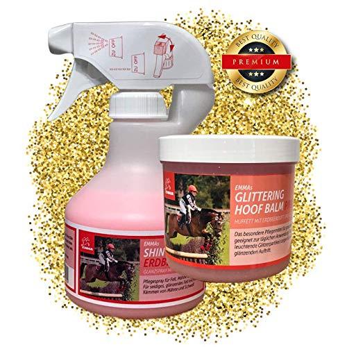 EMMA ♥ Pferdepflege - Set 2 teilig, Glanzspray, Huffett in pink mit Duft & Glitzer, Mähnenspray für Fell, Mähne und Schweif für Pferde Putzbox