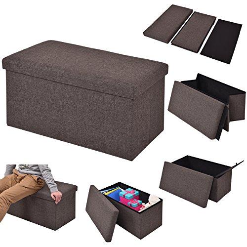 COSTWAY Sitzhocker mit Stauraum Sitzwürfel Sitzbox Sitzbank Aufbewahrungsbox Ottomane faltbar Farbwahl 76x38x38cm (braun)