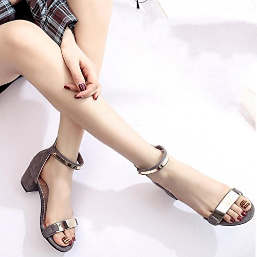 Sandali da donna Casual Wedge Heel, nero, grigio, rosa c