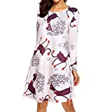 MRULIC Damen Blusenkleid Abendkleid Knielang Kleider Weihnachts Winterrock Festliches Kleid Mehrfarbig Verfügbar Schön Neujahr Herbst und Winter Kleid(A-Weiß,EU-34/CN-S)
