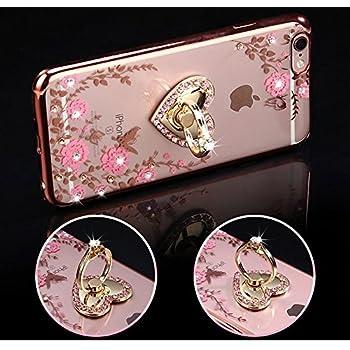 Coque iPhone 8 Plus,Coque iPhone 7 Plus,[Support de bague] Placage brillant strass diamant
