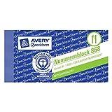 Avery Zweckform 868 Garderobeblocks Nummernblock sortiert