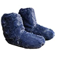 Snuggles Furry Microwave slippers size 4-7 ladies Heated Foot Warmers (Blue)