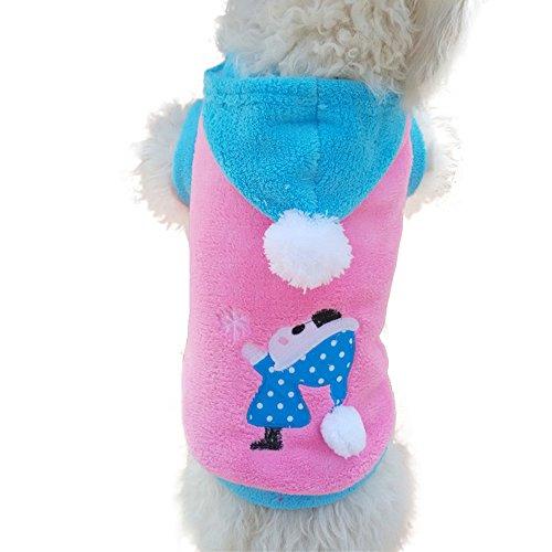 FakeFace starsource Hunde Pet Puppy Cat aus Weichem Fleece Herbst Winter Weihnachten Warm Sweatshirt Hoodie Shirt Jacke Coat, Schneeanzug Kleidung, S-XL Größe, Blau, S, Rose -