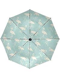 BENNIGIRY Paraguas de Viaje Resistente al Viento con Flamenco y Cierre automático Plegable, Resistente,