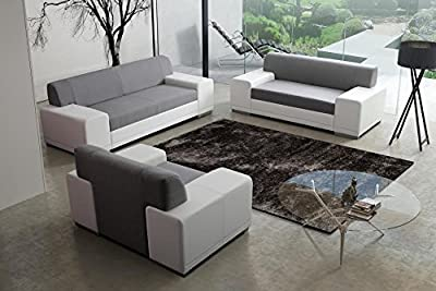 TORONTO fabric and faux leather sofa suite living room furniture armchair couch sofa set in grey and white colour from KRK