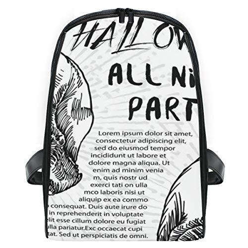 FOURFOOL Halloween-Kostüm-Party-Einladungs-Gruß-Karte,Laptop Rucksack für Männer Schulrucksack Multifunktionsrucksack Mini Tagesrucksack für Schule Wandern Reisen Camping