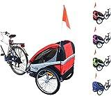 PAPILIOSHOP EAGLE Rimorchio carrellino per il trasporto di 1 o 2 uno due bambino bambini la bici bicicletta portabimbo bimbo bimbi portabimbi carrello pieghevole da con x porta rimorchietto carretto (Rosso)