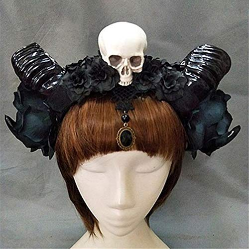 Allowevt Frauen Stirnbänder Simulation Schaf Hörner Teufel Stirnband Wiederverwendbare Kopfschmuck Halloween Requisiten Haarschmuck für Erwachsene Jugendliche