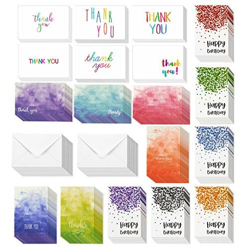 144-pack Happy Birthday Karten und Thank You Karten-inkl. 6Konfetti Designs, 6Rainbow Schriftarten und Ombre Designs, Bulk Box Set VARIETY PACK mit Umschläge enthalten, 10,2x 15,2cm