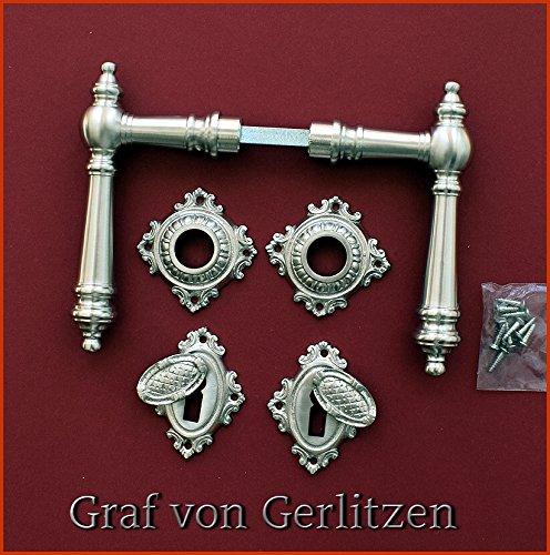 Graf von Gerlitzen Antik Messing Nickel Tür Griffe Türgriffe Türbeschlag Türdrücker Rosetten BB Gründerzeit WW-12N