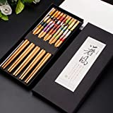 KaLaiXing® Five Pairs Of Decorated Japanese Chopsticks--5 color