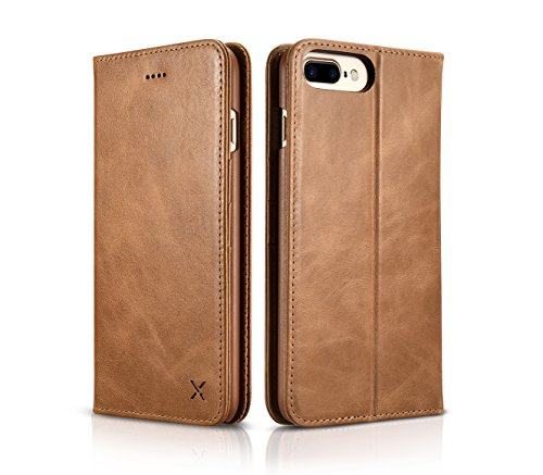 iPhone 7 Plus Wallet Case, DEMEDO [ X Series ] [100% Cowhide Leather] Folio Cover with Stand, Raised Camera Protection,3 Card Slots & Cash Slot, Flip Shell for iPhone 7 Plus(Braun) Braun