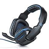 CSL - Stormrider USB Gaming Headset Komfort Plus | Virtual Surround Sound 7.1 | einklappbares Mikrofon | Kabelfernbedienung (Volume-Control + Mikrofon Ein/aus) | Schwarz/Blau | ca. 1,8m Kabellänge