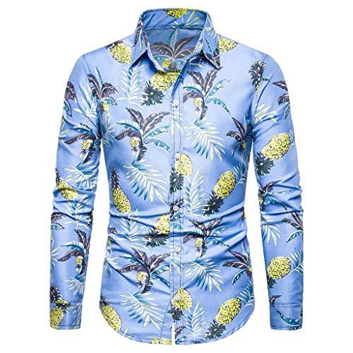 Hawaiihemd Herren 3D Drucken Lässig Button Down Strandurlaub Hemd Aloha Langarmhemd Hawaii Hemd -
