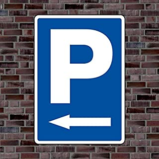 Parkplatzschild Symbol «Pfeil Links» - Hochwertiges Alu-Verbundmaterial - Größe 42 x 30cm (ca. DIN A3)