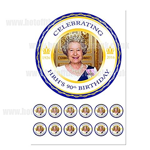 The Queen 90th Birthday Cake Toppers on an A4 sheet - Birthday Cake and Party Idea - Just Cut & Apply