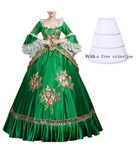 Nuoqi Damen Viktorianisches Kleid Renaissance mittelalterliche Maxi Kostüm Halloween
