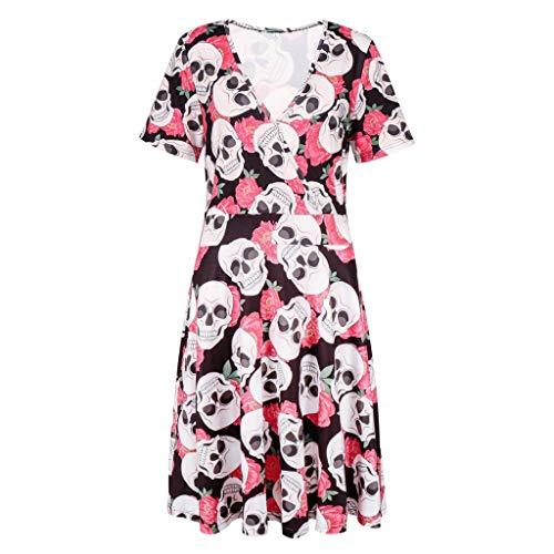 Kostüm Damen Muster Rosa - Halloween Damen Kleider Mode Kurzarm V-Ausschnitt Skeleton Muster Loose Fitting Vintage Kleid Party Kleid Karneval Festival Cosplay Kostüm Rosa S