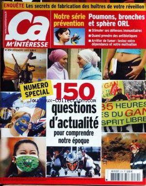 'A M'INTERESSE [No 274] du 01/12/2003 - LES SECRETS DE FABRICATION DES HUITRES - POUMONS - BRONCHES ET SPHERE ORL - 150 QUESTIONS D'ACTUALITE.