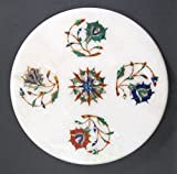 """Mármol blanco Chakla Chapati Roti Makers 9""""Diámetro Semi piedras preciosas incrustaciones diseño de flores"""