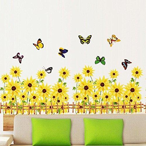 Pegatina Pared Vinilo Decorativo Adhesivo Para Ventana Hogar Cocina Dormitorio Cama Creativo Flor Girasol Amarillo Mariposas Coloridas Rodapié