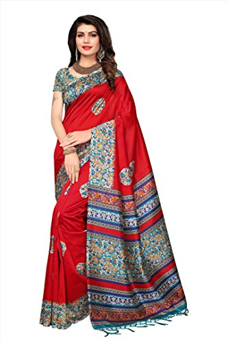 Applecreation women\'s art silk saree with blouse piece (SRJM025_Red_Free Size)