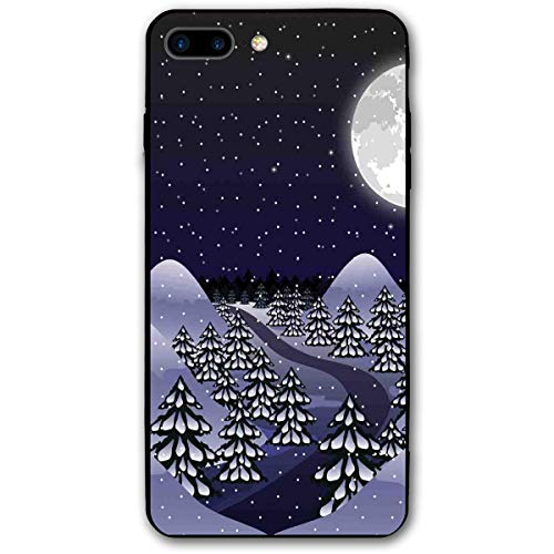 ZZHOO Compatible with iPhone 7/8 Plus Case, Snowfall at Midnight Spruce Pine Trees Among The Hills Dark Forest,Anti-Scratch Shock Absorption Protective Cover