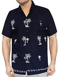 La Leela aloha bouton coupe décontractée bas manches courtes hawaï brodées surfer caribbean shirt hommes xs bleu - 5XL