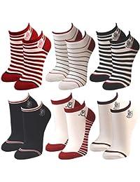 6 Paar Damen Bambus Sneaker Socken Füßlinge Motiv maritim in rot, weiß und blau