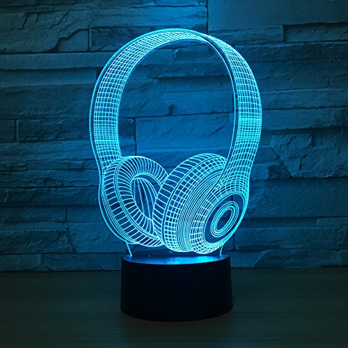 Leisurely Lazy Headphones Shape 3D Optical Illusion Lamp 7 Colors Change and 15 Keys Remote Control LED Night Light Perfect Gifts Toys