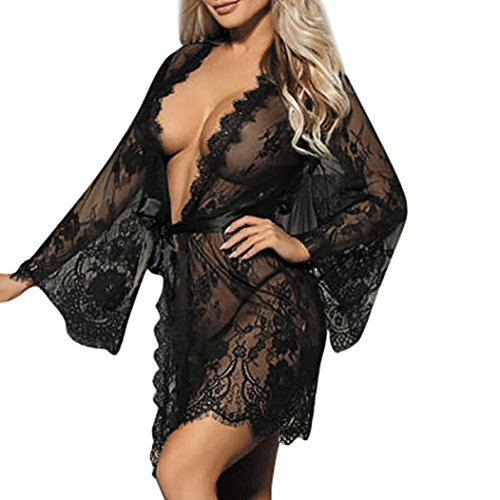 *Damen Dessous Set FORH Frauen Sexy Spitze Babydoll Nachtwäsche Unterwäsche Spitzenmantel Reizwäsche Versuchung Offen Transparente Negligee Kleid + G-String Panties Erotic lingerie (Schwarz, M)*
