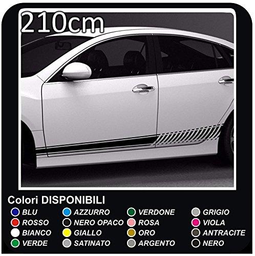 210cm fasce laterali Strisce per auto Rally Adesivi Auto Adesivo Laterale Strisce Adesivi RACING Sport (NERO)