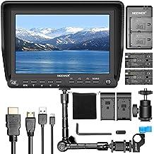 Neewer NW-S7 Kit de 7 pulgadas 4K HD Monitor de Cámara de Campo: 1920X1200 Monitor de Cámara Pantalla IPS, Brazo Mágico de 11.8 pulgadas, Doble Cargador de Batería, Paquete de 2 F550 Baterías de Reemplazo para Sony Canon Nikon Olympus Pentax