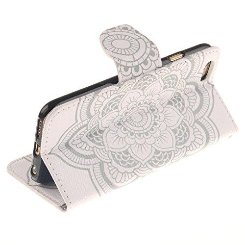 Xf-fly Ledertasche Schutzhülle für iPhone 6 / 6S PU Leder Flip Hülle mit Farbmalerei und TPU Innenschale Standfunktion Kartenfächer Magnetverschluss Knopf für Apple iPhone 6 / 6S (4.7 Zoll) P-5