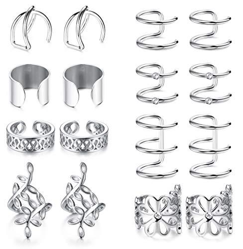 BESTEEL 8 Pairs Edelstahl Ohrringe Clips für Männer Frauen Knorpel Modeschmuck Ohrringe Klips Set Schwarz/Silber/Rosegold