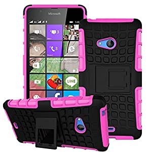 Heartly Flip Kick Stand Spider Hard Dual Rugged Armor Hybrid Bumper Back Case Cover For Microsoft Lumia 540 Dual SIM - Cute Pink