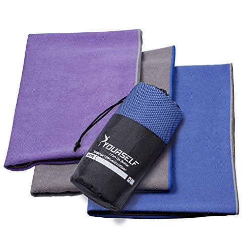 Aktive Saugfähig (Syourself Extrafeine Faser Yoga Handtuch -61cm x 183cm - gilt für Yoga, Fitness, Training, Outdoor-Sport, Rutschfestigkeit der Reise, superschweißsaugfähiges + tragbare Reisetasche(lila))