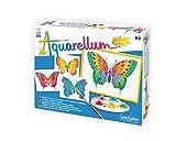 Sentosphere Aquarellum Junior 3900661 - Set per dipingere con acquerelli con 4 disegni da colorare, tema: farfalle
