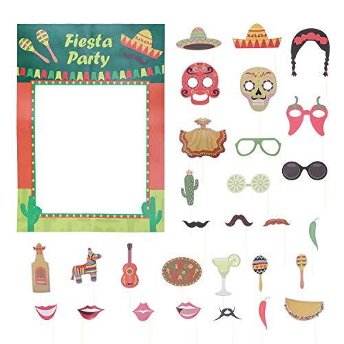 Amosfun - Marco de fotos para fiesta con selfie, suministros de decoración para fiestas mexicanas