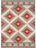 benuta In- & Outdoor Teppich Star Kilim Rot 140x200 cm | Pflegeleichter Teppich geeignet für Innen- und Außenbreich, Balkon und Terrasse