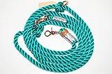 Hundeleine Tau 250cm grün/Leder Silber/Rosegold