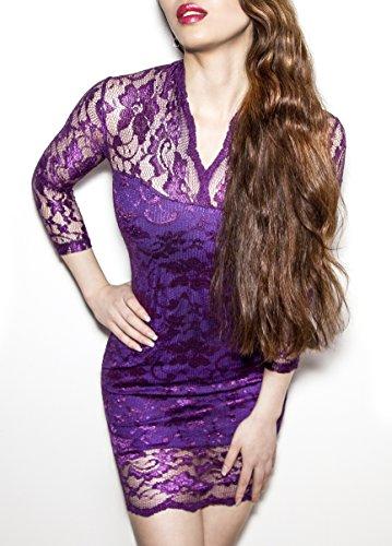 SodaCoda Damen Spitzen Mini-Kleid - Sehr Kurzes V-Neck Kleid - 3/4 Arm (Lila, M)