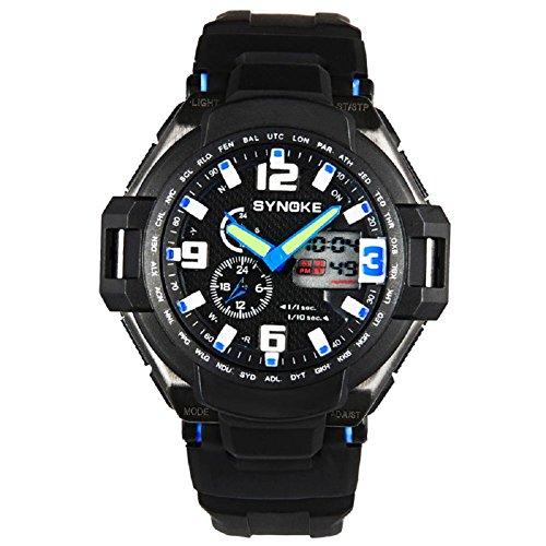 multi funzione impermeabile doppio digitale al quarzo led orologio militare sport/51.16mm* 16.25mm (Blu) - Omega Cinturino In Gomma Blu