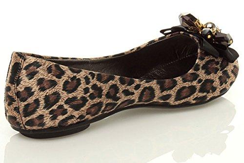 Femmes plat ballerine chaussons mocassins escarpins chaussures pointure Léopard