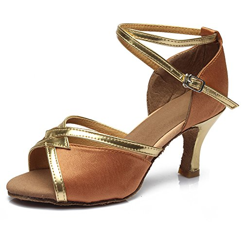 HROYL Damen Tanzschuhe/Latin Dance Schuhe Satin Ballsaal Modell-D7-225 7CM Braun
