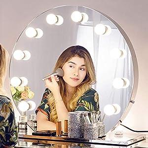 Chende Runden Schminkspiegelmit Licht für Schminktisch, Hollywood Spiegel mit Beleuchtung für Wandmontage, Große Professioneller Kosmetikspiegel für Schlafzimmer
