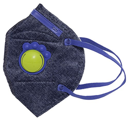 Honeywell PM 2.5 anti-pollution kids mask with special valve - Denim with Blue, Pack of 5