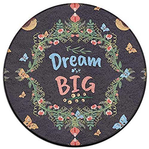 Yushangmao Retro Doodle Floral Big Dream Soft Coral Velvet Circular General Purpose Floor Mat Or Rug Use In Front of Bedroom, Kitchen,Vanity, Bath Tub, Living Room and Toilet - Floral Bath Vanity