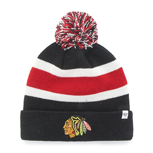 NHL Wintermütze CHICAGO BLACKHAWKS Pommel Pom breakaway Knit hat (Jersey Blackhawks Schwarz)